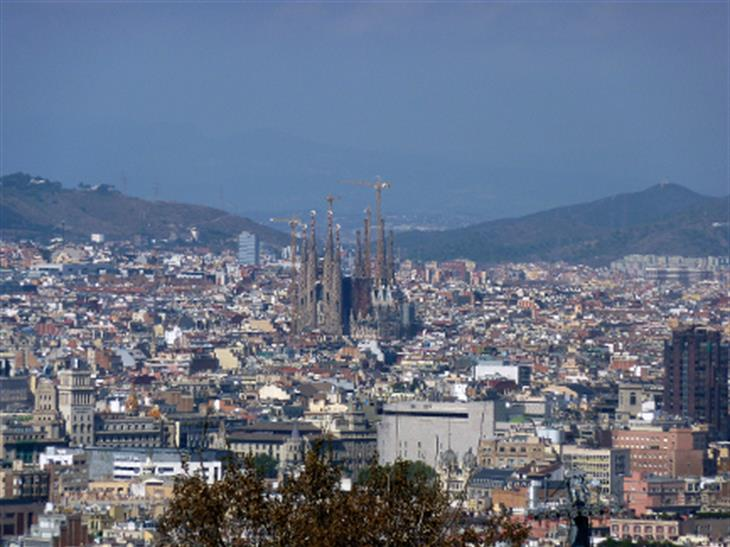 Barcelona Sagrada Familia Church From Montjuic