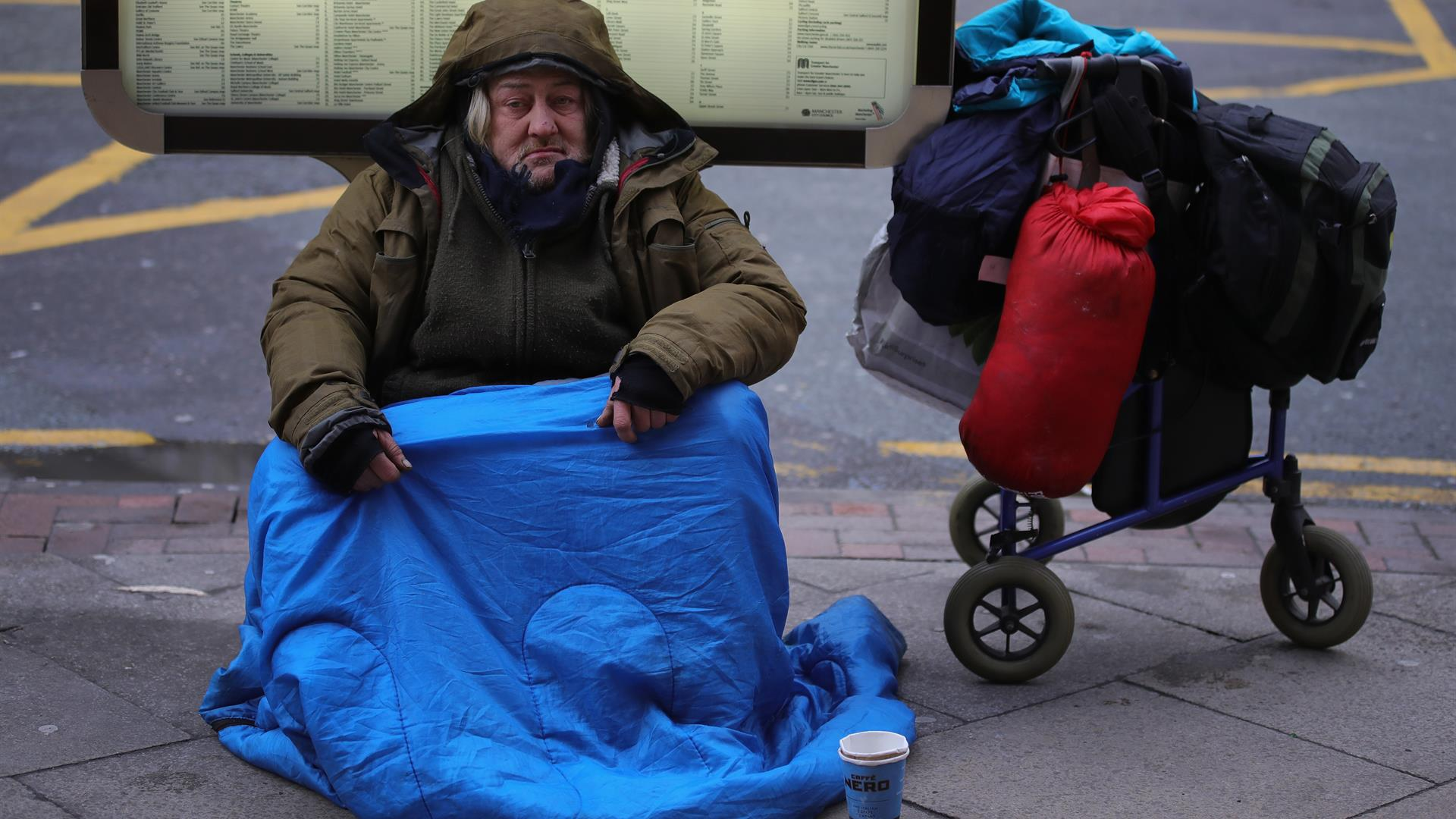 Homeless Christopher Furlong:Getty Images