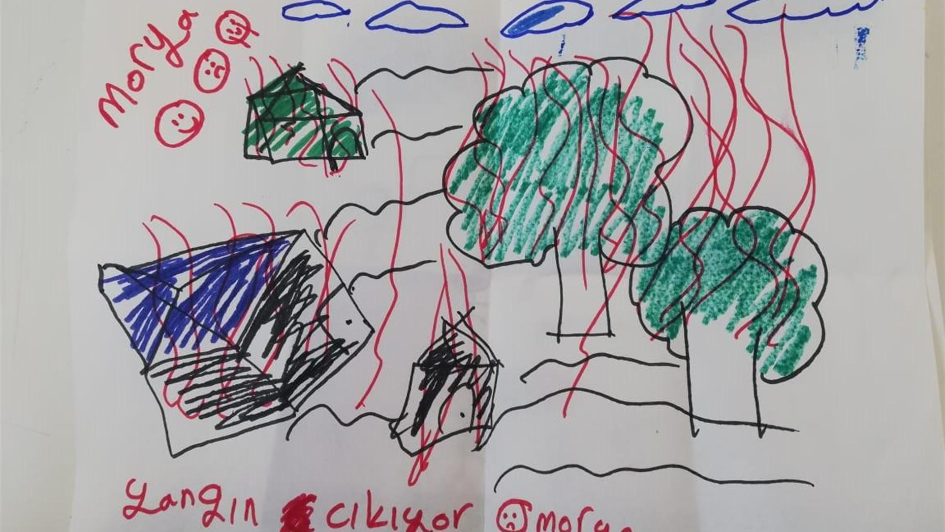 Greece Kara Tepe Child Drawing About Fires 1